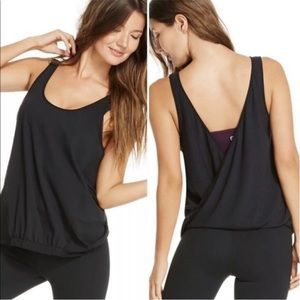 NWT FABLETICS LUCIA 2-IN-1 TANK Black workout tank
